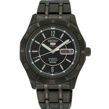 Seiko Men's Black Stainless Steel Case and Bracelet Automatic Black Dial Day Date Display SRP299