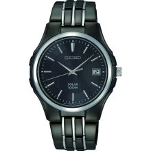 Seiko Mens Black Stainless Steel Solar Bracelet Watch