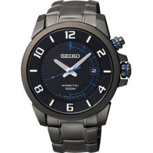 Seiko Men's Black Stainless Steel Case and Bracelet Kinetic Black Dial Date Display SKA555