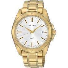 Seiko Men's Gold Tone Stainless Steel Quartz White Dial Date Display SGEF86