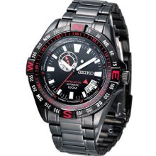 Seiko Men's LIMITED EDITION Automatic Stainless Steel Case and Bracelet Black Tone Dial Date Display SSA113