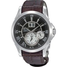 Seiko Men's Premier SNP025 Brown Leather Quartz Watch with Black Dial