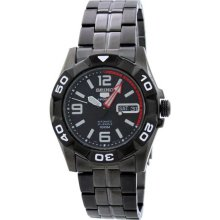 Seiko Men's Seiko 5 Sports Black Stainless Steel Case and Bracelet Black Dial Automatic Day and Date Displays SNZJ01