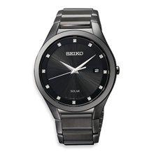 Seiko Men's Solar Black Dial Black Ion Stainless Steel Watch
