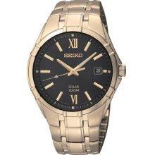 Seiko Men's Solar Gold Tone Stainless Steel Case and Bracelet Black Dial SNE220