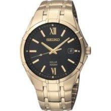 Seiko Men's Solar Gold-plated Stainless Steel Watch (Seiko Solar Men's Quartz Watch)