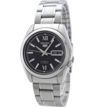 Seiko Men's Stainless Steel Case and Bracelet Automatic Black Tone Dial SNKL55
