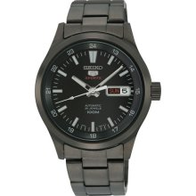 Seiko Men's Stainless Steel Case and Bracelet Automatic Black Dial Day Date Display SRP267