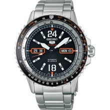 Seiko Men's Stainless Steel Case and Bracelet Black Dial Automatic Day and Date SRP347