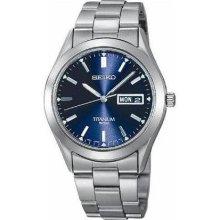 Seiko Men's Titanium Watch - Titanium Bracelet - Blue Dial - SGG709