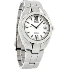 Seiko Perpetual Calendar Mens White Dial Stainless Steel Quartz Watch SLL001