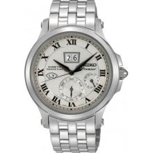 Seiko Premier Kinetic Silver Dial Stainless Steel Mens Watch SNP0 ...