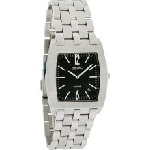 Seiko Premier Mens Black Date Dial Stainless Steel Bracelet Quartz Watch SKP165