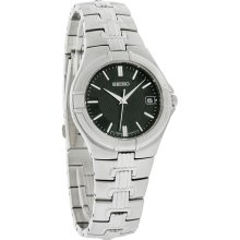 Seiko Quartz Mens Black Dial Stainless Steel Dress Bracelet Watch SGEC67