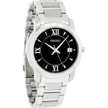 Seiko Quartz Mens Black Dial Stainless Steel Bracelet Dress Watch SGEE95 New
