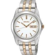 Seiko Quartz Mens White Day/date Dial Twotone Stainless Steel Dress Watch Sgga45