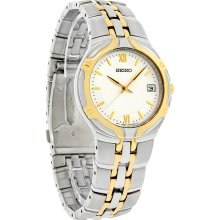 Seiko Quartz Mens White Dial Two Tone Stainless Steel Dress Watch SGEB58 New