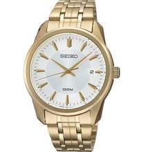 Seiko Quartz Water Resistance Gold Plated Stainless Steel Mens Sports Watch