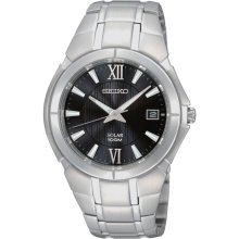 Seiko SNE087 Men's Black Dial Solar Powered Stainless Steel Watch