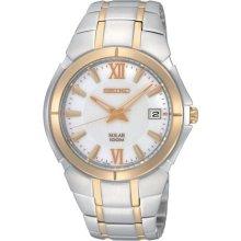Seiko SNE088 Men's Dress Two Tone Stainless Steel Solar Powered White Dial Watch