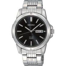 Seiko SNE093 Men's Black Dial Solar Powered Stainless Steel Watch