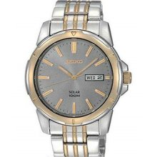 Seiko Sne098 Men's Solar Bracelet Stainless Steel Band Charcoal Dial Watch