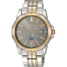 Seiko Sne100 Men's Gold Tone Stainless Steel Black Dial Solar Powered Date Watch
