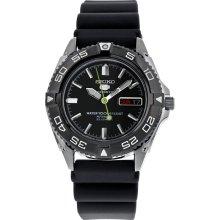 Seiko Snzb23k2 Men's Watch Seiko 5 Sports Automatic Black Dial Rubber Strap