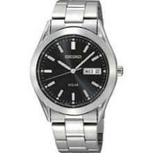 Seiko Solar Mens Black Day/Date Dial Stainless Steel Watch SNE039