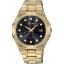 Seiko Solar Mens Gold-Tone Watch Black Dial Diamond Hour SNE182
