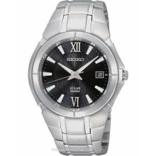 Seiko Solar Mens Stainless Steel Date Watch - Black Dial - 100m SNE087