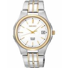 Seiko Solar Mens Two-Tone Watch - White Dial - 100M WR - Date Window SNE122