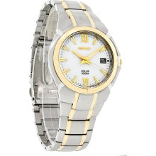 Seiko Solar Mens White Date Dial Two Tone Stainless Steel Bracelet Watch SNE088