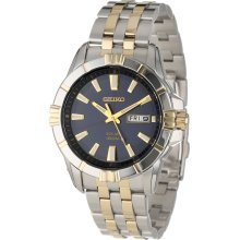 Seiko Solar Two Tone Stainless Steel Black Dial Day-Date Mens Watch SNE176