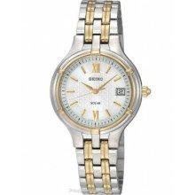 Seiko Solar Two-Tone Ladies Dress Watch - Silver/White Dial - Date SUT020