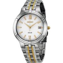 Seiko Solar White Dial Two-tone Stainless Steel Mens Watch SNE029