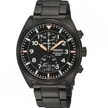 Seiko Sports Black Stainless Steel Chronograph Mens Watch SNN237 ...
