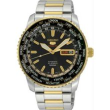 Seiko SRP130 Mens Two Tone Stainless Steel Automatic Black Dial World Time Bezel