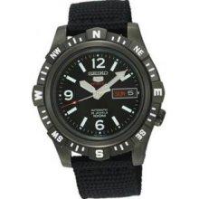 Seiko SRP147 Mens Stainless Steel Seiko 5 Automatic Black Dial Black Nylon Strap
