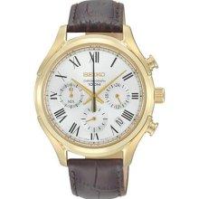 Seiko Ssb022 Men's Watch Gold Quartz Chronograph White Dial Brown Leather Strap