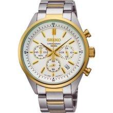 Seiko Ssb064 Men's Watch Two Tone Chronograph White Dial