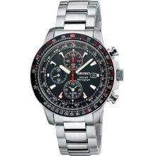 Seiko SSC007 Aviator Solar Flight Series Mens Black Dial Alarm Chronograph Watch