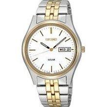 Seiko Two-tone Solar White Dial Stainless Steel Mens Watch Sne032