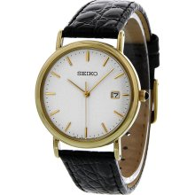 Seiko White Dial Gold Tone Stainless Steel Mens Watch SKK694
