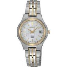 Seiko Womens Solar Stainless Watch - Silver Bracelet - White Dial - SUT038