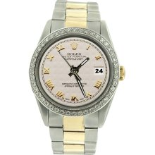 SS oyster bracelet rolex date just white roman dial diamond bezel men watch