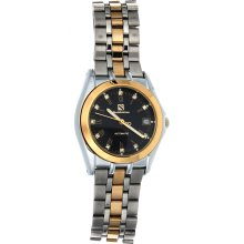 Steinhausen Men's Stainless Steel Automatic Date Black Dial Watch (silver/gold)