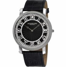 Stuhrling Original 904.33151 Mens Classic Hyperion Slim Swiss Quartz with Stainless Steel Case Black Dial and Black Leather Strap Watch