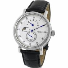 Stuhrling Original 97.33152 Mens Classic Symphony Operetta Slim Swiss Quartz with Stainless Steel Case Silver Dial and Black Leather Strap Watch