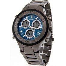 Surface Mens XL Blue Dial Black Analog Digital Quartz Chronograph Watch